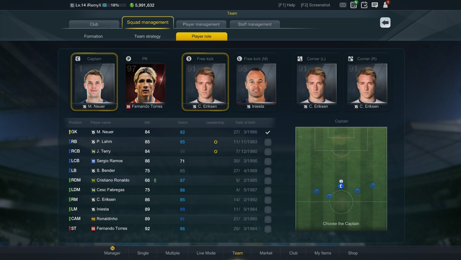 Choose your captain, players to take important penalties, free kicks and  corners. This is key in determining the nature of your team!