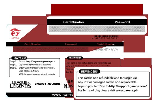 garena prepaid card epin - Prepaid Card Number