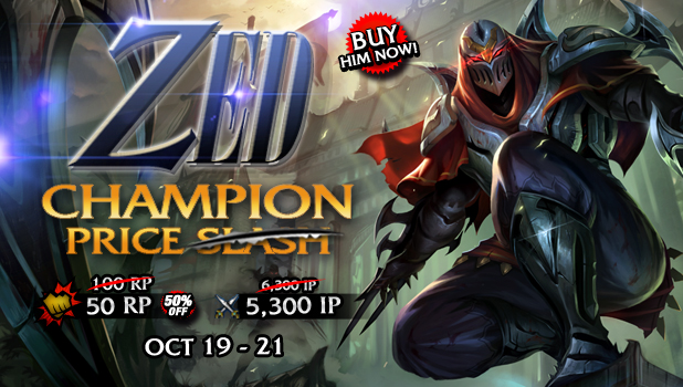 Zed price will decrease to 100RP and 5300IP starting October 19, 2013.