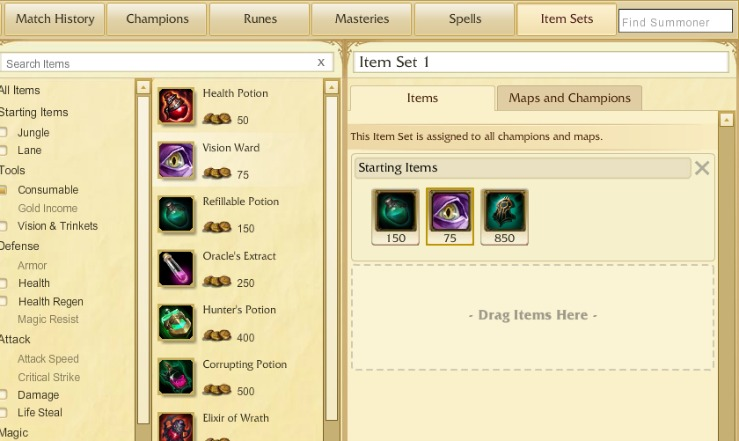 how to create item sets in lol new client